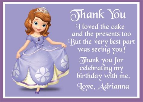 sofia the thank you card template sofia the birthday thank you card printable