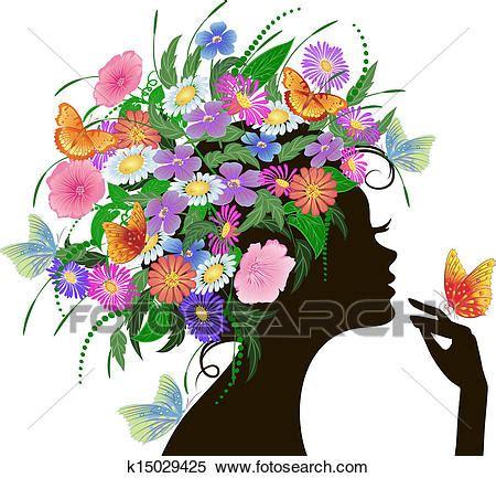 fiori e farfalle clipart ragazza con fiori e farfalle k15029425