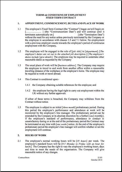 work agreement template fixed term employment contract template