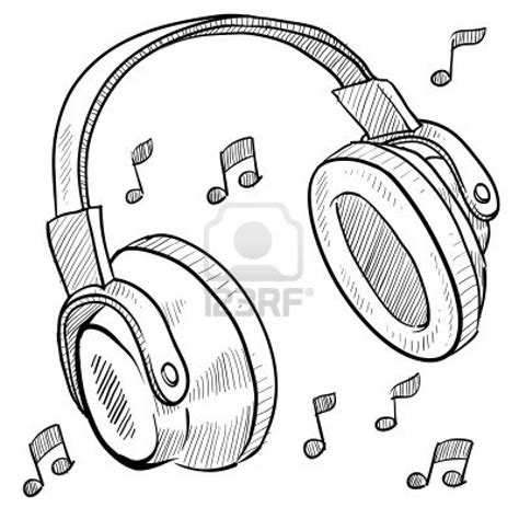 with headphones sketch chibi with headphones coloring pages