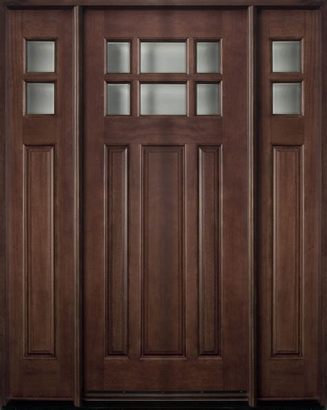 Exterior Doors With Sidelites Entry Door In Stock Single With 2 Sidelites Solid Wood With Walnut Finish Classic Series