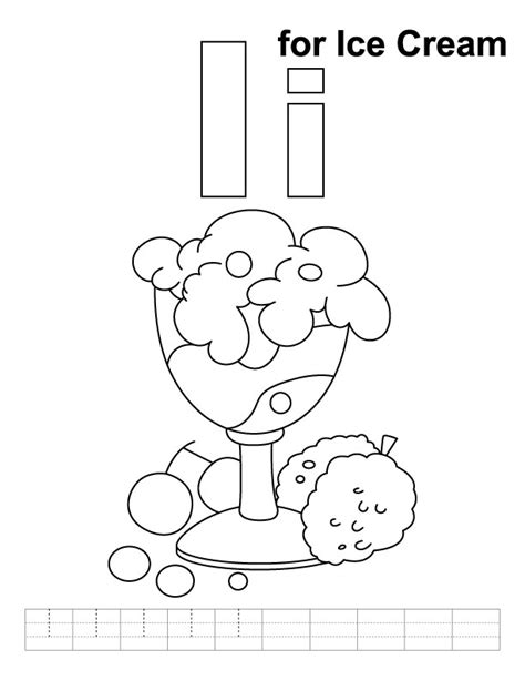 ice cream coloring pages for adults i for ice cream coloring page with handwriting practice