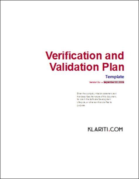 validation pattern number only verification and validation plan template