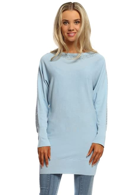 Leticia Tunic laetitia mem baby blue tunic jumper silver tunic