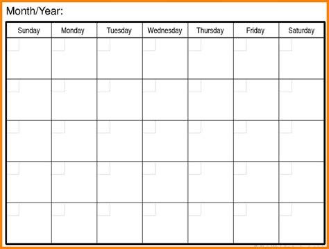 free blank schedule template 7 free blank calendar xavierax