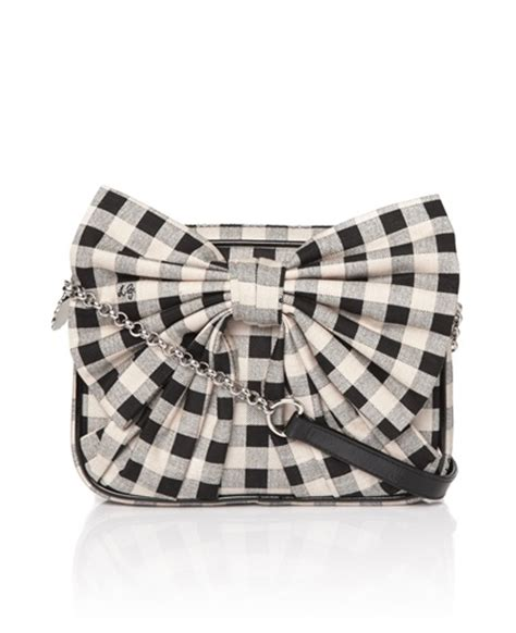 Lulu Guinness Bows Pleats Stella by Lulu Guinness Small Bow Emily Black White Bags