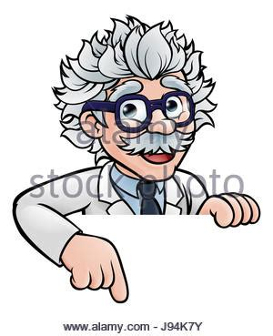 a cartoon scientist professor wearing lab white coat