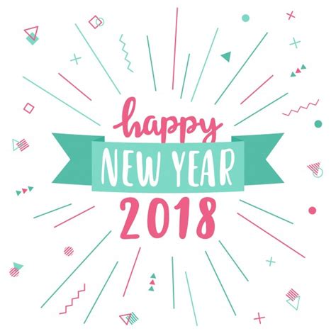 happy new year greeting card 2018 vector free download