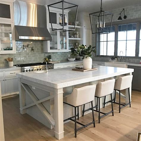 Farmhouse Kitchen Islands | appealing grey island white cabinets farmhouse kitchen