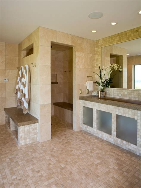marble tiled bathrooms marble tile bathroom with open shower hgtv