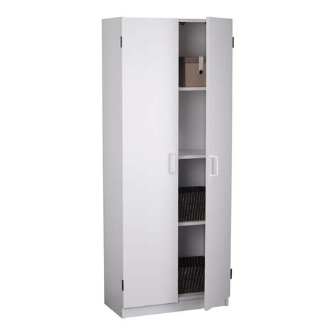 Pantry Storage Cabinets With Doors Shop Ameriwood Home 23 63 In W X 59 69 In H X 12 5 In D Charleswood White Engineered Wood Door