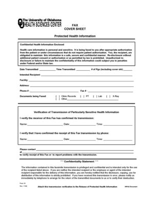 18 Printable Health Information Fax Cover Sheet Templates
