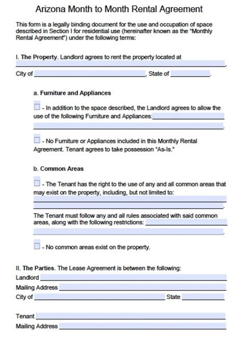 printable lease agreement arizona free arizona month to month rental agreement pdf word