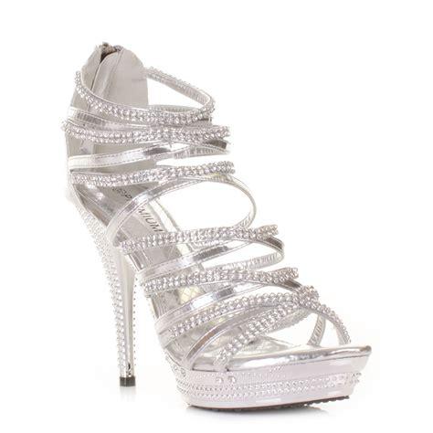 gladiator strappy sandal high heel silver platform