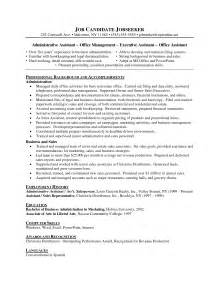 business administration resume sles business admin resume free excel templates