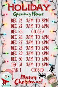Customize 5 760 Christmas Poster Templates Postermywall Opening Hours Template