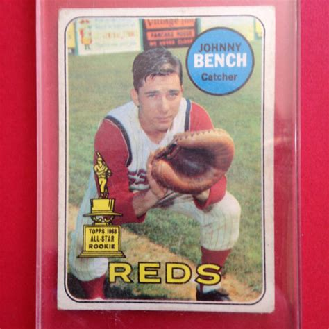 johnny bench rookie johnny bench 196 9topps rookie card by maryndipity on etsy