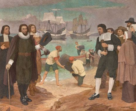 mural of 1630: governor winthrop at salem bringing the