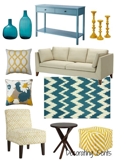 decorating cents yellow  teal decor   home