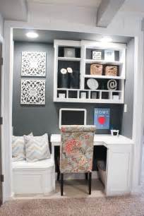 Closet office space that has a built in reading nook you can