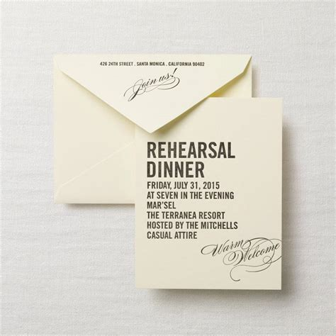 dinner invitation sle letterpress caps and calligraphy rehearsal dinner