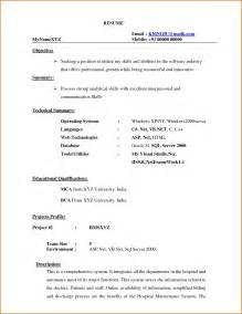 Free Resume Samples For Freshers resume format for bca freshers it resume cover letter sample