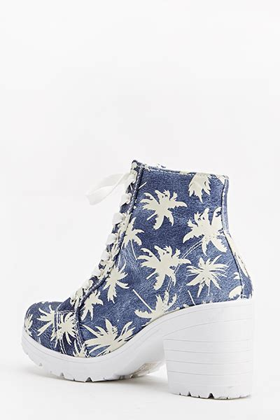 canvas palm tree heeled boots blue just 163 5