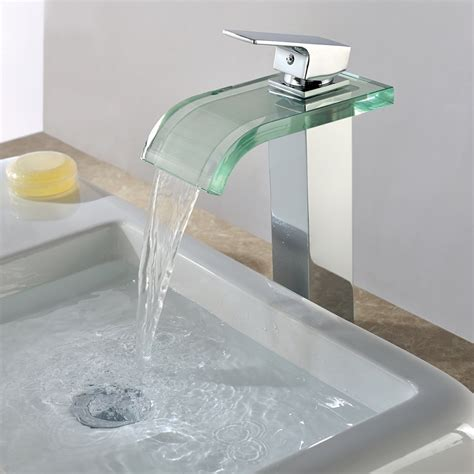 bathtub water faucet waterfall brass glass vessel chrome finished basin faucets