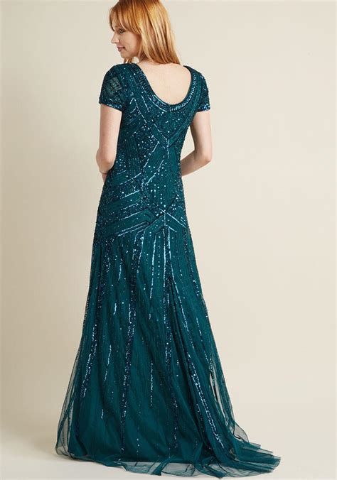 lyst adrianna papell sequined vision maxi dress  blue