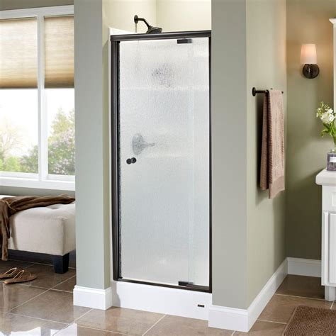 home depot bathtub shower doors delta lyndall 31 in x 66 in semi frameless pivot shower door in bronze with rain