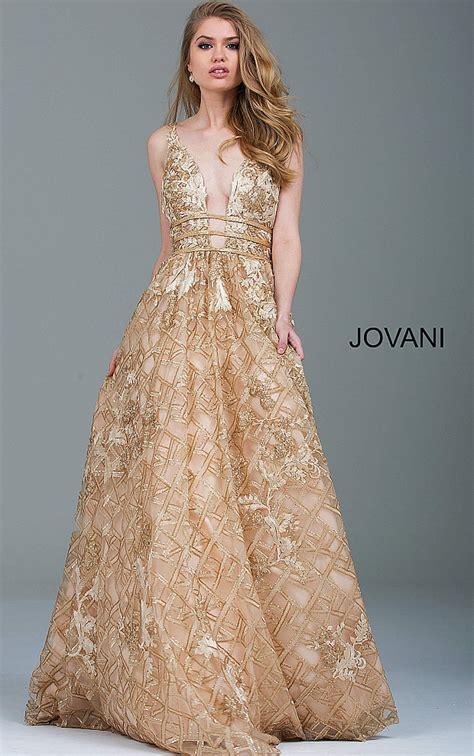 In Gold Dress jovani dresses womens gold embellished backless evening