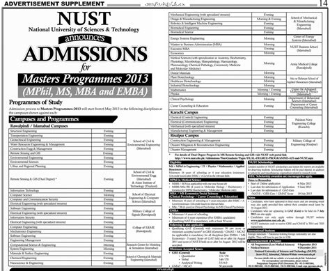 How To Get Admission In Isb For Mba by Nust Islamabad Starts Admission 2013 In Ms Mphil Mba