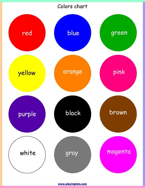 toddler color chart free printable colors chart free printable for learning