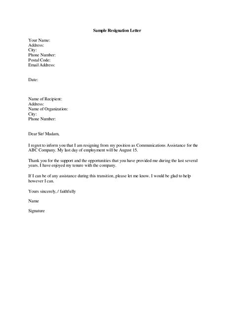 Thanks For Your Support Letter Template Resignation Letter Format Starling Template Resignation Letter Sle Sle Template