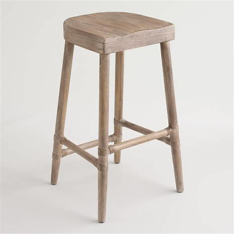 Gray Washed Wood Bar Stools by Rustic Wood Gonesse Bar Stool