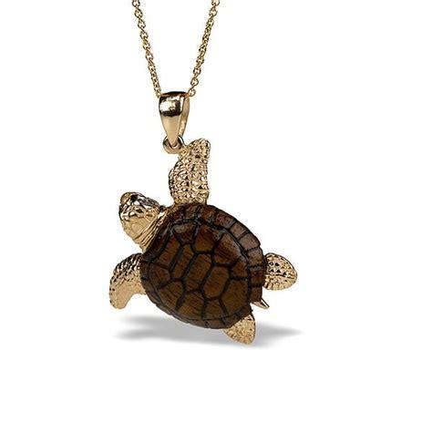 tilden ross 14k and teak sea turtle pendant