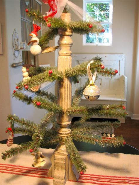 repurposed table leg     inventive christmas tree trunk painted  distressed