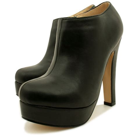 womens black leather style stiletto heel platform ankle boots
