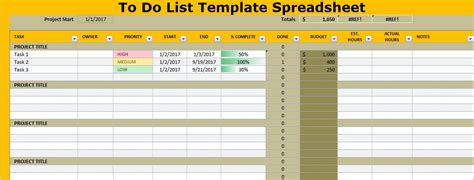 to do list template spreadsheet excel projectemplates