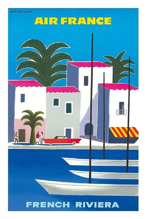 cannes riviera vintage travel poster riviera vintage airline travel poster by