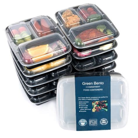 freezer safe food storage containers 3 sections microwavable reusable freezer safe meal prep