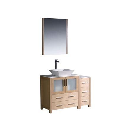 Oak Vanity Light Fresca Torino 42 In Vanity In Light Oak With Glass Vanity Top In White With White Basin