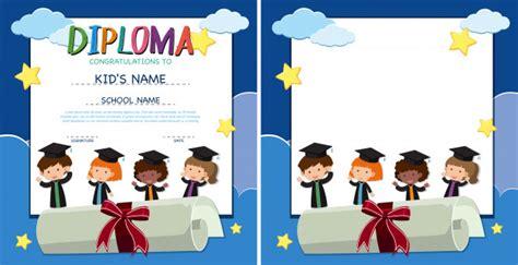 www freepik es plantillas de graduacion plantilla de diploma y frontera con ni 241 os felices en bata