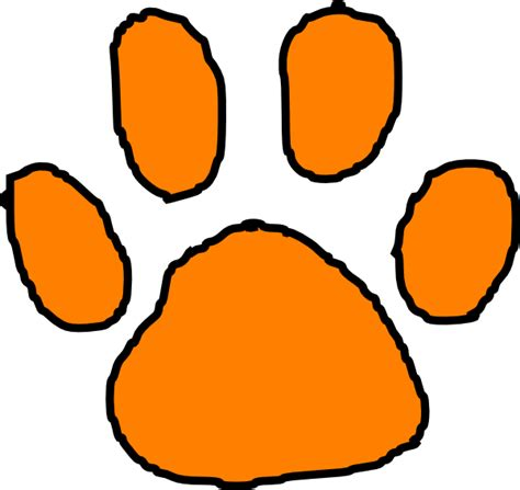 orange tiger paw with black outline clip art at clker com