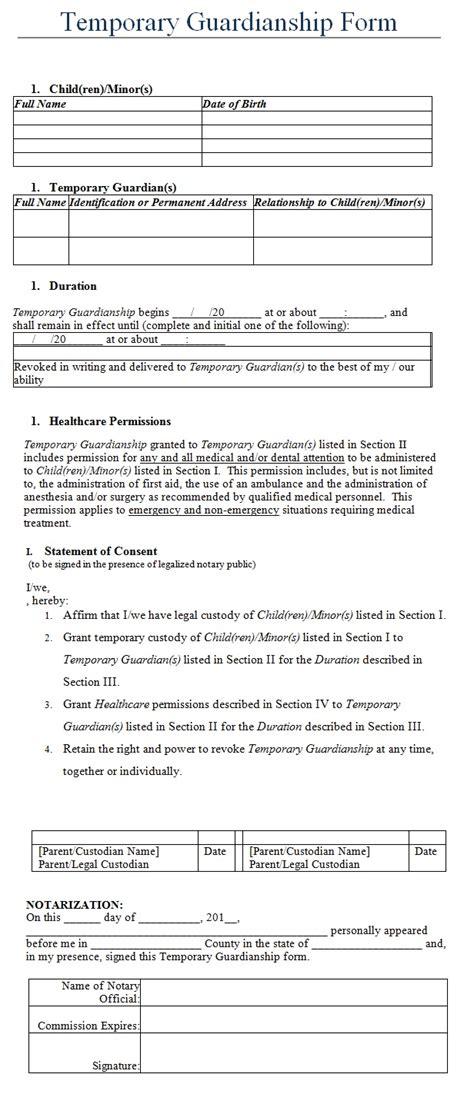 Temporary Guardianship Form Template Sle Temporary Guardianship Agreement Template