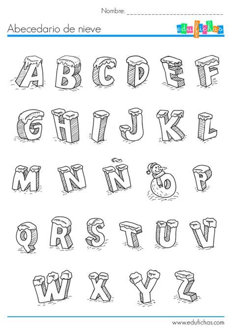 actividades de abecedario para ninos abecedario de nieve fichas de navidad edufichas