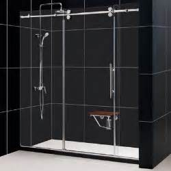sliding frameless shower doors dreamline enigma 56 to 60 quot fully frameless sliding shower