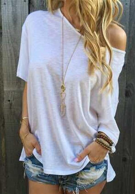 white plain irregular batwing oblique shoulder sleeve casual fashion t shirt t