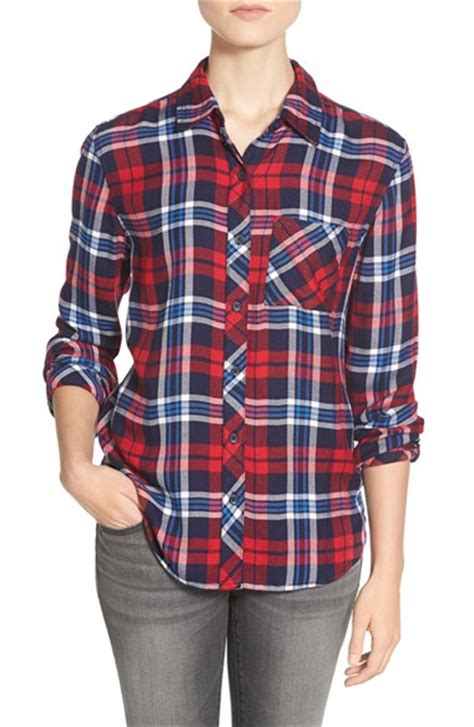 lunch lounge plaid one pocket shirt in blue lyst