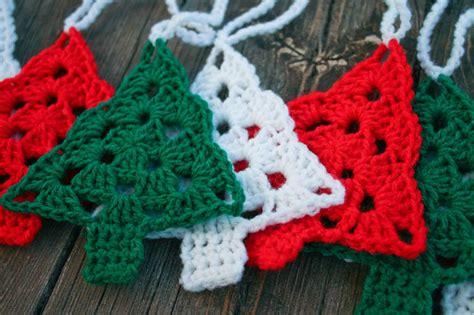 crocheted christmas tree garland ideas crochet tree garland bunting aurelia s room